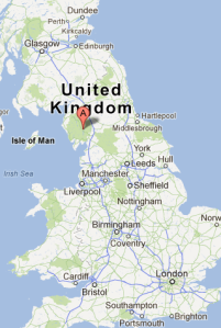 map showing location of Ambleside in UK