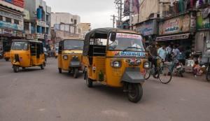 Crossing the street in Madurai.