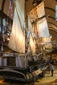 The Lagoda, a half-size model of a historic whaling vessel.