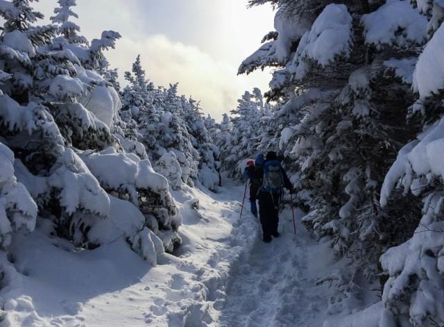 Crossing the ridge, homeward.