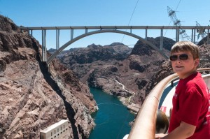 Andy examines the bew bridge bypassing Hoover Dam.