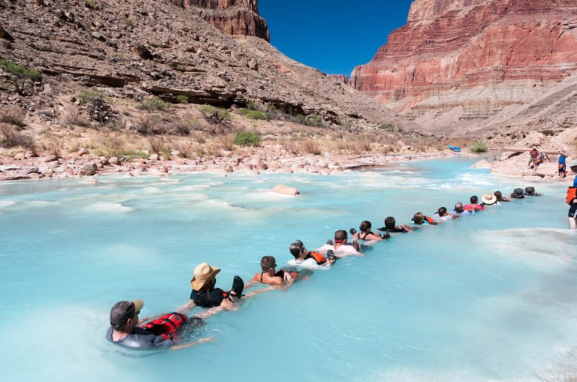 About half our group forms a line to float down the Little Colorado river.