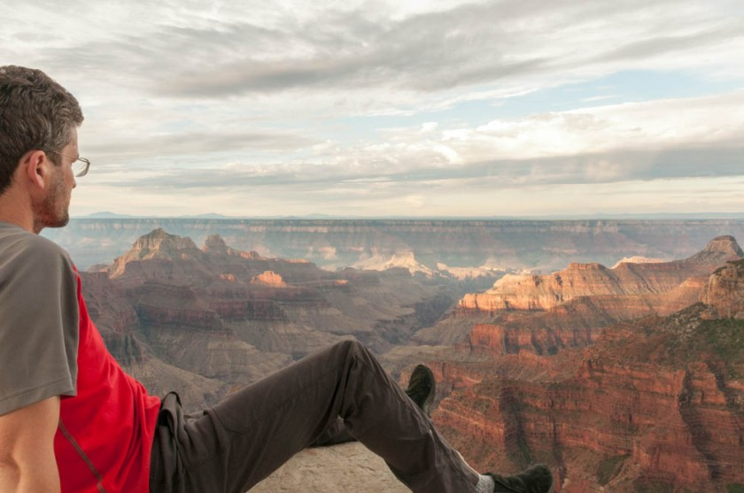 David watches the sunrise from Bright Angel Point, North Rim, Grand Canyon.