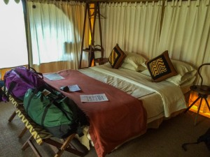 Interior of bedroom tent at nyumba, Tarangire N.P., Tanzania.