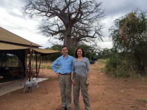 David meets a Dartmouth classmate by coincidence at the nymuba, Tarangire N.P..