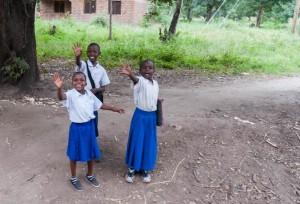 Schoolchildren along the road to Lake Manyara N.P. Tanzania.