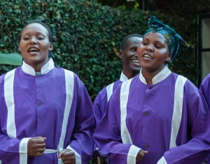 A local church choir performs at Gibbs Farm hotel, Tanzania.