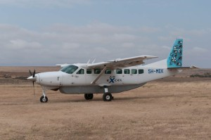 Our charter plane arrives in Wasson for our flight from Enashiva reserve to Arusha, Tanzania.