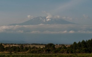 Mount Kilimanjaro as seen from the road outside Arusha, Tanzania.