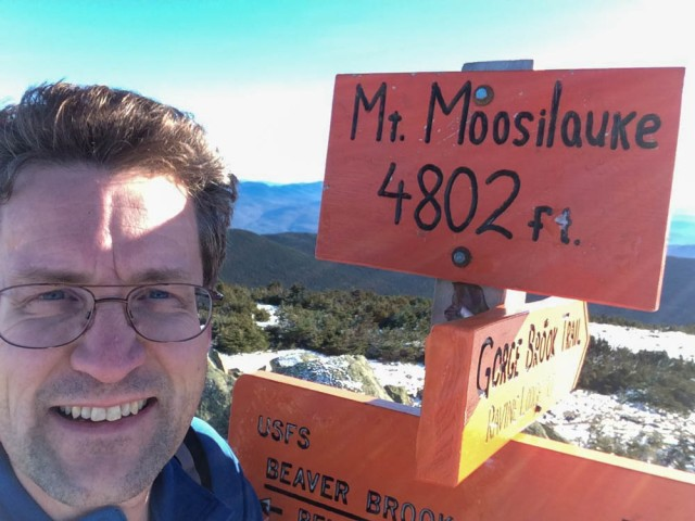 Moosilauke summit on a beautiful, sunny, warm(!) December day.