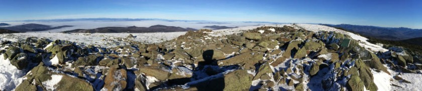 Moosilauke summit views, with river-valley fog.