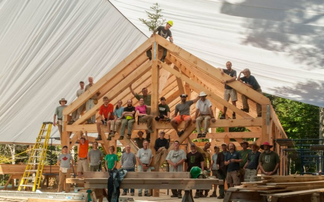 Timberframe workshop at Moosilauke - Class of 1966 bunkhouse. (Photo by David Kotz '86.)