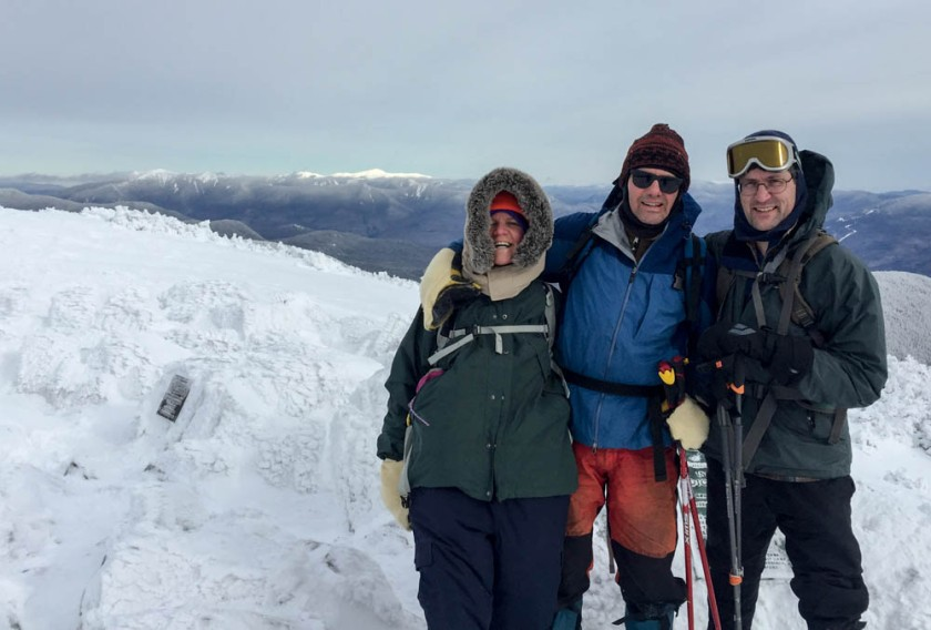 Jen, Lars and David enjoy calm weather on the summit of Mount Moosilauke. Photo by Jen Botzojorns.