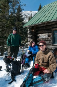 Jen, Lelia, and Lars at a Lunch stop at Taft Lodge on Mount Mansfield.