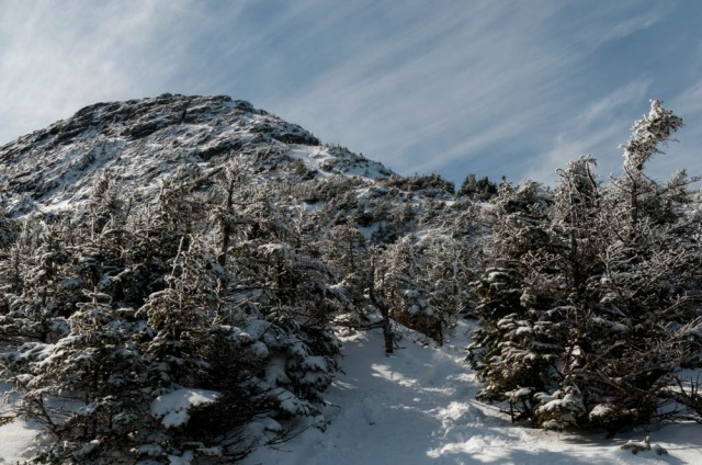 Approaching the summit cone of Mount Mansfield.