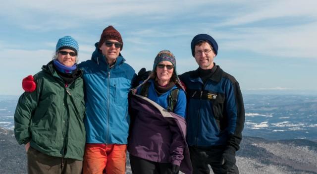 Jen, Lars, Lelia, and David on the summit of Mount Mansfield.