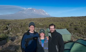 David Kotz '86, Leah Feiger '14, and Ken Kaliski '85 at the Shira Plateau camp, Mount Kilmanjaro, Tanzania (June 2016).