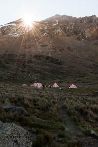 Sunnrise over Kibo, at Lava Tower campsite.