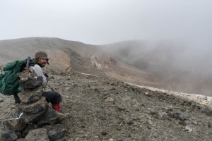 Ken at the rim of the Ash Pit, with a mist that may be (in part) caused by the fumes from the pit.