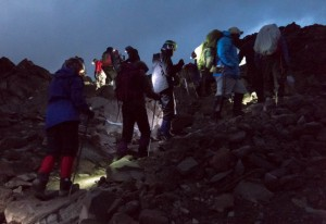 Headlamps on, we begin our summit approach before dawn.