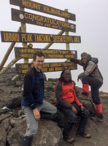Dave, George, and Ken on the summit of Uhuru Peak, Mount Kilimanjaro, Tanzania.