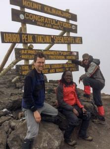 Dave, George, and Ken on the summit of Uhuru Peak, Mount Kilimanjaro, Tanzania.