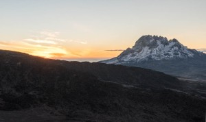 Mawenzi summit from Barafu camp, at sunrise.