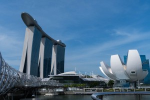 Marina Bay Sands hotel, with Helix bridge in foreground.