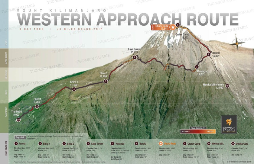 Thomson Trek's schematic of the route. We changed plans on summit day, spending night 9 at Barafu, and night 10 at Mweka rather than Millenium. (This map counts camp 1 as night 3.)