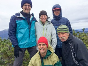Celebrating Lelia's 48th NH 4000-footer on Middle Carter mountain with the Presidential Range beind; with David, Lelia, Will, Lars, and Bill.