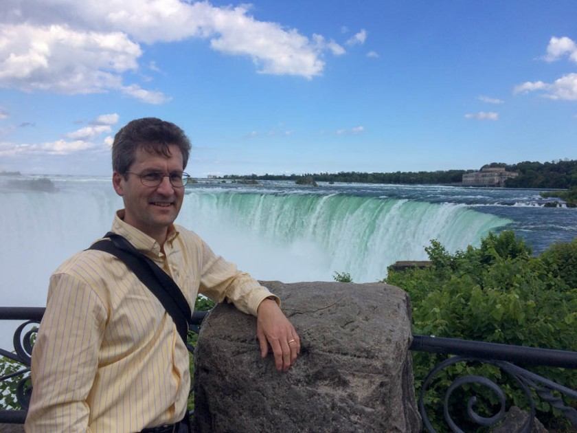David at Niagara's Horseshoe Falls, as viewed from the Canadian side.