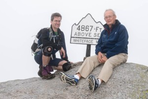 David celebrates his 46th peak with his Dad on the summit of Whiteface.