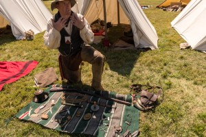 A re-enactor shows us the typical 'kit' for a frontier beaver hunter.