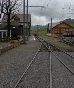 Wasserauen train station and the departing train.