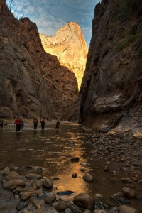 The Virgin River at its exit from the Narrows.