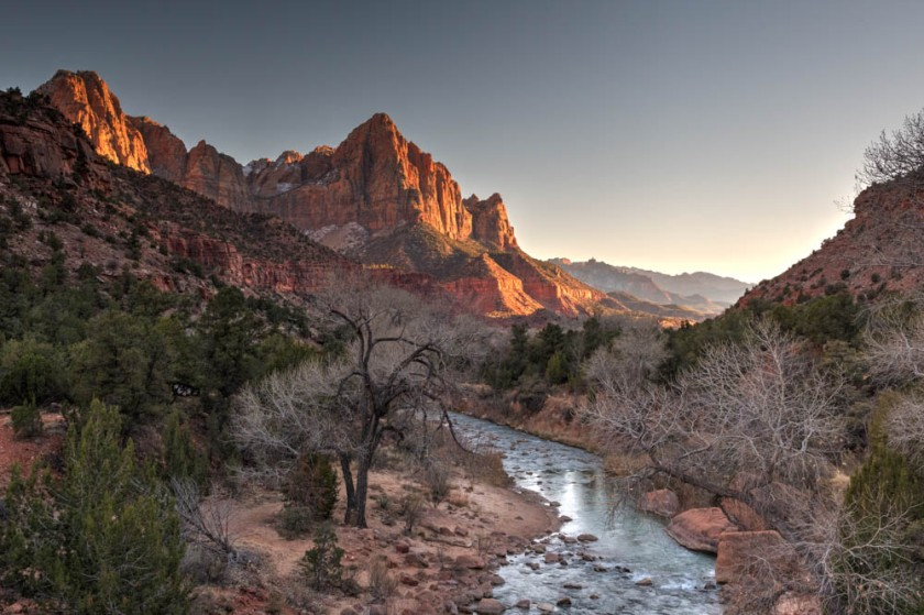 The Watchman as viewed from the bridge at Canyon Crossing.