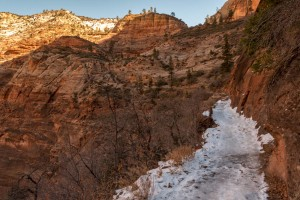 Snow and ice on trail to Observation Point.