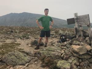 David on the summit of Hamlin Peak, with Baxter Peak at rear.