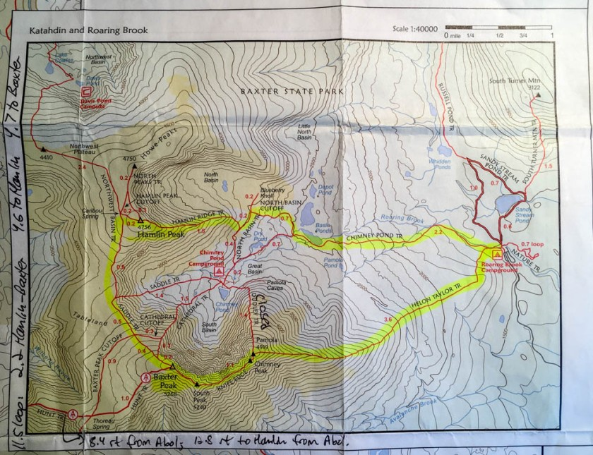 Map of our route, counter-clockwise around Katahdin's south basin.