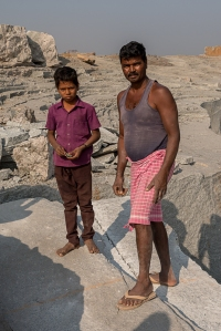 A quarry worker and his son, near Hampi.
