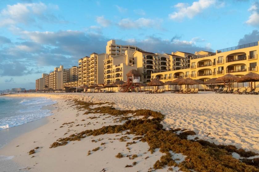 Sunrise on the beach in Cancun.