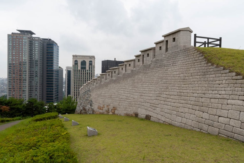 A reconstructed portion of the ancient wall around Seoul.