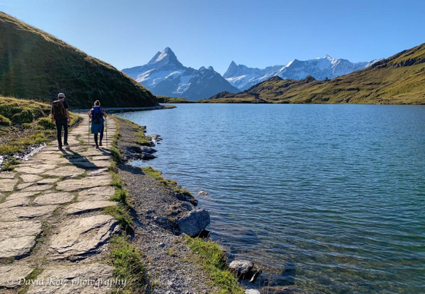 The trail from Faulhorn to First passes the pretty lakes of Bachsee.