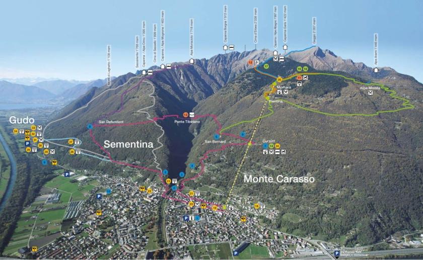 Map of Monte Carasso hiking trails, near Bellinzona, Switzerland.