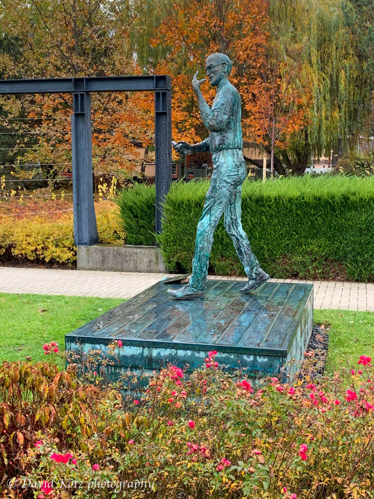 Statue of Steve Jobs in GraphiSoft Park, near AIT Budapest.