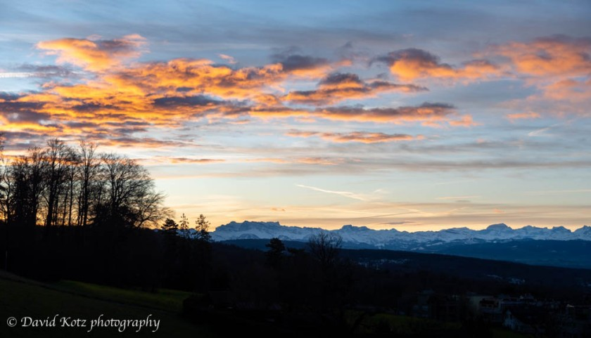 Sunrise view of the Alps from Zürichberg.