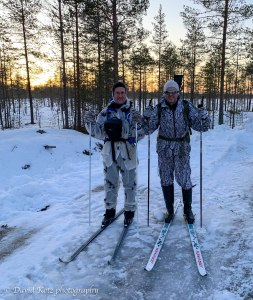David and Timo, ready to ski out on a hunt for grouse, outside Oulu Finland.