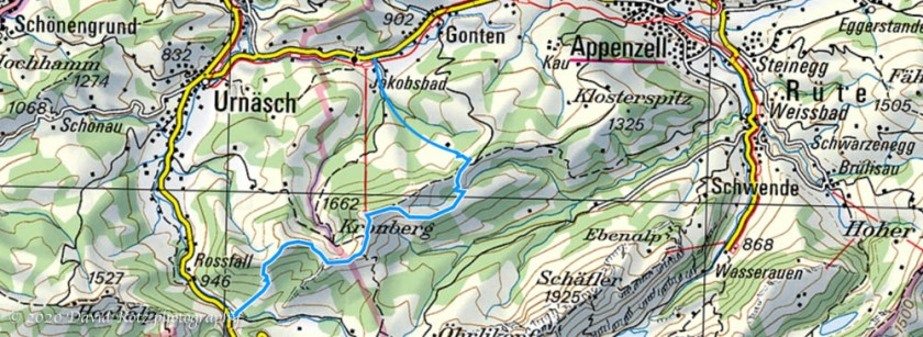 Map of our hike route (interpolated at the starting point in Jakobsbad).